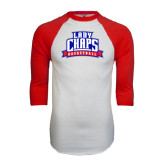 White/Red Raglan Baseball T-Shirt-Womens Basketball