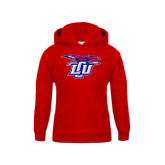 Youth Red Fleece Hoodie-Interlocking LCU w/ Chaparral