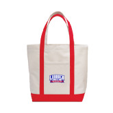Contender White/Red Canvas Tote-Lubbock Christian University