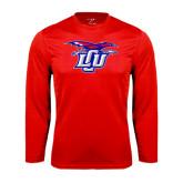 Performance Red Longsleeve Shirt-Interlocking LCU w/ Chaparral