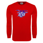 Red Long Sleeve T Shirt-Interlocking LCU w/ Chaparral Distressed