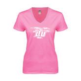 Next Level Ladies Junior Fit Ideal V Pink Tee-Interlocking LCU w/ Chaparral