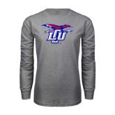 Grey Long Sleeve T Shirt-Interlocking LCU w/ Chaparral
