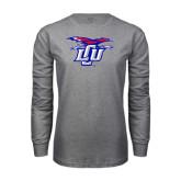 Grey Long Sleeve T Shirt-Interlocking LCU w/ Chaparral Distressed