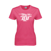 Ladies Fuchsia T Shirt-Interlocking LCU w/ Chaparral