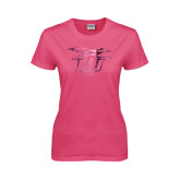Ladies Fuchsia T Shirt-Interlocking LCU w/ Chaparral Foil