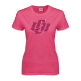 Ladies Fuchsia T Shirt-Interlocking LCU Rhinestones
