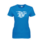Ladies Sapphire T Shirt-Interlocking LCU w/ Chaparral