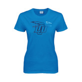 Ladies Sapphire T Shirt-Interlocking LCU w/ Chaparral Foil