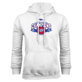 White Fleece Hoodie-Basketball Conference Champs Ribbon
