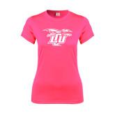 Ladies Performance Hot Pink Tee-Interlocking LCU w/ Chaparral