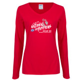 Ladies Red Long Sleeve V Neck Tee-2019 NCAA DII National Champions