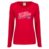 Ladies Red Long Sleeve V Neck Tee-2019 Womens Basketball National Champions
