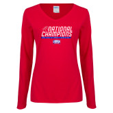 Ladies Red Long Sleeve V Neck Tee-2019 Womens Basketball NCAA DII National Champions
