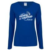 Ladies Royal Long Sleeve V Neck Tee-2019 NCAA DII National Champions