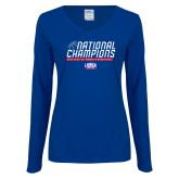 Ladies Royal Long Sleeve V Neck Tee-2019 Womens Basketball NCAA DII National Champions