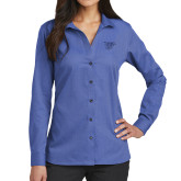 Ladies Red House French Blue Long Sleeve Shirt-Interlocking LCU w/ Chaparral
