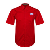 Red Twill Button Down Short Sleeve-Lubbock Christian University