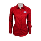 Ladies Red Twill Button Down Long Sleeve-Lubbock Christian University