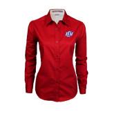Ladies Red Twill Button Down Long Sleeve-Interlocking LCU