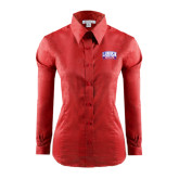 Ladies Red House Red Long Sleeve Shirt-Lubbock Christian University