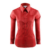Ladies Red House Red Long Sleeve Shirt-Interlocking LCU w/ Chaparral