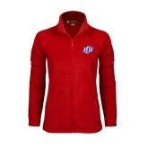 Ladies Fleece Full Zip Red Jacket-Interlocking LCU