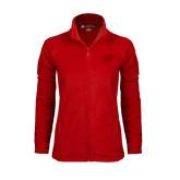 Ladies Fleece Full Zip Red Jacket-Interlocking LCU w/ Chaparral