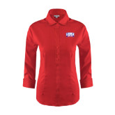 Ladies Red House Red 3/4 Sleeve Shirt-Lubbock Christian University