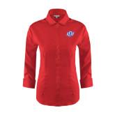 Ladies Red House Red 3/4 Sleeve Shirt-Interlocking LCU