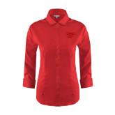 Ladies Red House Red 3/4 Sleeve Shirt-Interlocking LCU w/ Chaparral