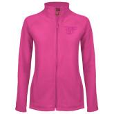 Ladies Fleece Full Zip Raspberry Jacket-Interlocking LCU w/ Chaparral