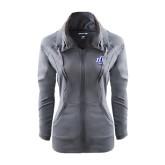Ladies Sport Wick Stretch Full Zip Charcoal Jacket-Interlocking LCU