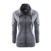 Ladies Sport Wick Stretch Full Zip Charcoal Jacket-Interlocking LCU w/ Chaparral