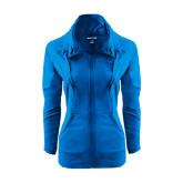 Ladies Sport Wick Stretch Full Zip Sapphire Jacket-Interlocking LCU w/ Chaparral