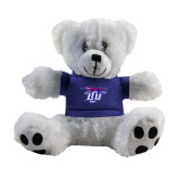 Plush Big Paw 8 1/2 inch White Bear w/Royal Shirt-Interlocking LCU w/ Chaparral