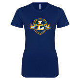Next Level Ladies SoftStyle Junior Fitted Navy Tee-L Warriors