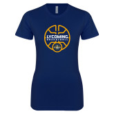 Next Level Ladies SoftStyle Junior Fitted Navy Tee-Warriors Basketball
