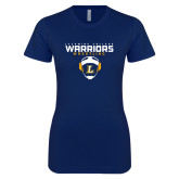 Next Level Ladies SoftStyle Junior Fitted Navy Tee-Warriors Wrestling