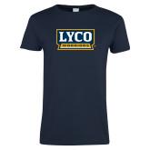 Ladies Navy T Shirt-Lyco Warriors