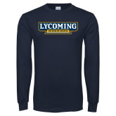 Navy Long Sleeve T Shirt-Lycoming Warriors