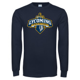 Navy Long Sleeve T Shirt-Primary Distressed