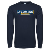Navy Long Sleeve T Shirt-Lycoming Lacrosse