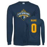 Navy Long Sleeve T Shirt-Primary Mark, Custom Tee w/ Name and #