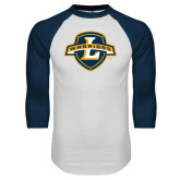 White/Navy Raglan Baseball T Shirt-L Warriors