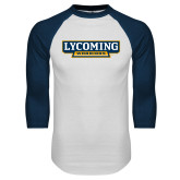 White/Navy Raglan Baseball T Shirt-Lycoming Warriors
