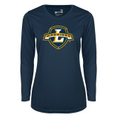 Ladies Syntrel Performance Navy Longsleeve Shirt-L Warriors