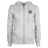 ENZA Ladies White Fleece Full Zip Hoodie-L Warriors