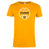 Ladies Gold T Shirt-Warriors Basketball