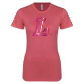 Next Level Ladies SoftStyle Junior Fitted Pink Tee-L Logo  Foil